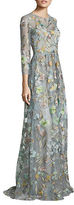 Marchesa Sleeveless Floral Embellished Gown