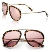 Tom Ford 57MM Aviator Acetate & Metal Sunglasses