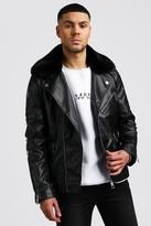 boohoo Mens Black Leather Look Biker With Detachable Collar, Black