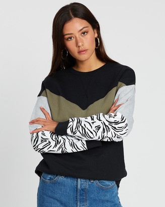 All About Eve Zebra Shift Crew Sweater