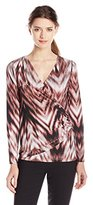 Karen Kane Women's Long Sleeve Faux Wrap Top
