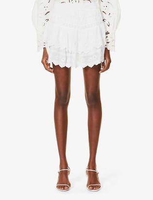 LoveShackFancy Emilia lace-trimmed high-waisted cotton mini skirt