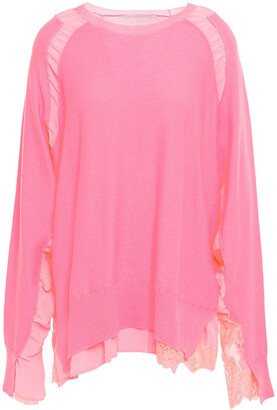 Stella McCartney Layered Lace-trimmed Wool And Crepe De Chine Sweater