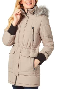 Free Country Long Quilted Coat with Faux Fur Hood