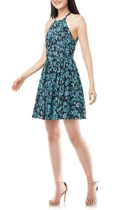 Theia Love by Floral Print Halter Neck Chiffon Party Dress