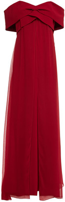 Sachin + Babi Off-the-shoulder Pleated Crepe And Georgette Gown