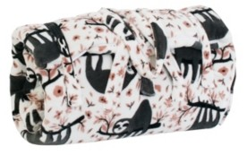 """Thro 55"""" x 60"""" Polyester Fill Seth Sloth Fleece Sleeping Bag with Attached 18"""" x 22"""" Pillow"""