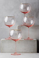Anthropologie Gilded Rim Red Wine Glass Set