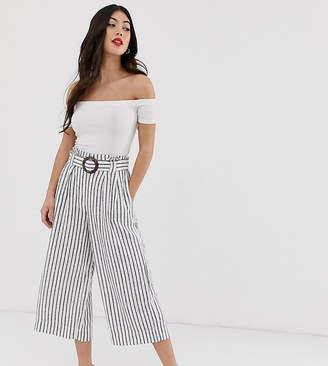 New Look Petite stripe linen crop pants in cream pattern
