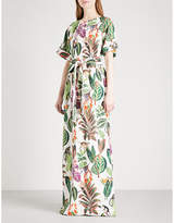 Oscar de la Renta Jungle-print stretch-silk kaftan