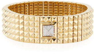 Roberto Coin Wide 18k Studded Bracelet w/ Diamond Pyramid