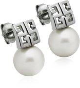 TZARO-Jewelry 925 Sterling Silver Earrings, Pattern Pearl Earrings, Classic Simulated Shell Pearl Stud Earrings 7mm Round Pearl Studs Bridal Earrings, Silver Bridesmaid Earrings Ball Pearl Earrings