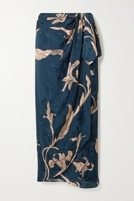 Johanna Ortiz + Net Sustain Tide Of Love Floral-print Satin-jacquard Wrap Skirt