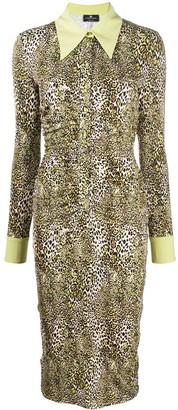 Elisabetta Franchi Leopard-Print Midi Shirt Dress