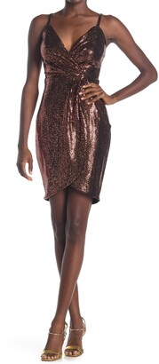GUESS Metallic Faux Wrap Dress