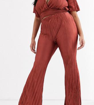 Koco & K Plus plisse wide leg trouser in rust