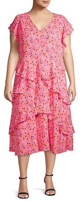 Rachel Roy Plus Fabrianne Ruffled Floral Midi Dress