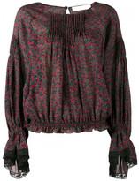 Chloé printed lace-trim blouse