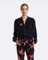 Coco Ribbon Navy Parrot Bomber Jacket