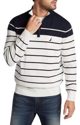 Nautica Navtech Striped Cotton-Blend Sweater