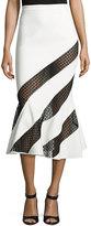David Koma Cady Flounce-Hem Skirt w/Crocheted Lace, White/Black