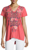 Johnny Was Cassandra Short-Sleeve Embroidered Tee, Plus Size