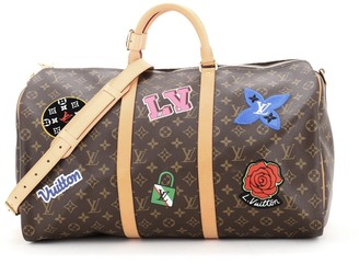 Louis Vuitton Keepall Bandouliere Bag Limited Edition World Tour Monogram Canvas 50