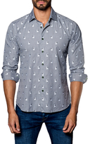 Jared Lang Cotton Dog Print Sportshirt