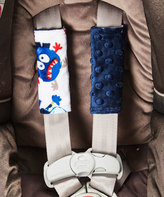 White & Navy Monster Car Seat Strap Covers