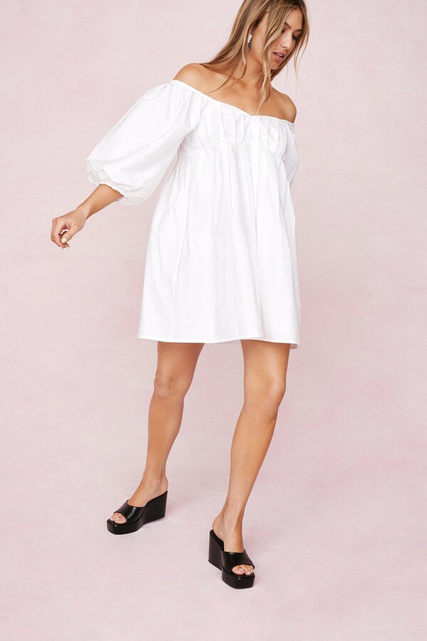 Thumbnail for your product : Nasty Gal Womens Puff Sleeve Off the Shoulder Mini Dress