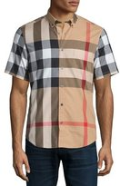Burberry Fred Check Short-Sleeve Woven Shirt, Camel