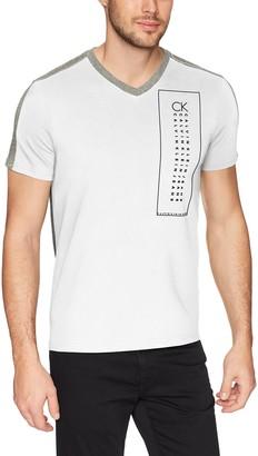 Calvin Klein Men's Short Sleeve T-Shirt Vneck Box Logo Graphic