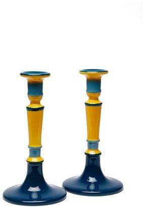 Cabana Magazine - Set Of Two Hand-painted Ceramic Candlesticks - Blue Multi