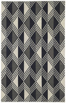Tribeca Flatweave Black Diamonds Wool Rug (5' x 8')