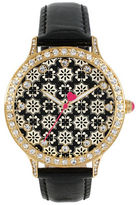 Betsey Johnson Goldtone Crystal Printed Dial Leather Strap Watch