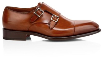 Santoni Ira Double Monk Strap Leather Dress Shoes