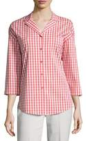 Lafayette 148 New York Analeigh 3/4-Sleeve Hampton Check Blouse