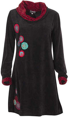 Coline Women's Casual Dresses Black - Black Medallion Embroidered Cowl Neck A-Line Dress - Women