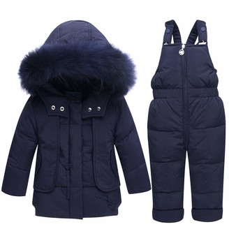 De feuilles Girls Hooded Velvet Puffer Jacket Winter Quilted Padded Coat with Removable Faux Fur Collar and Pompom Pocket