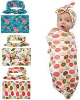 WZT 3 set Swaddle Sack, Swaddle Cocoon Sleep Sack Swaddle Newborn Blanket Headband for Baby