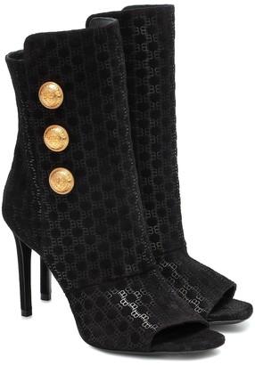 Balmain Flocked suede peep-toe ankle boots