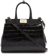 Aspinal of London Women's Small Snap Bag Black Croc