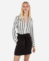 Express Petite Slim Fit Striped Ruffle Collar Portofino Shirt