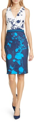 Ted Baker Tilliai Floral Colorblock Bodycon Dress