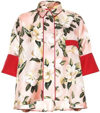F.R.S For Restless Sleepers Pistis Plumeria silk pajama shirt