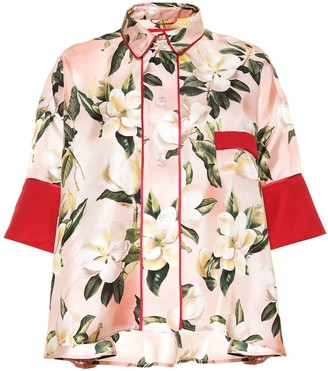 F.R.S For Restless Sleepers Pistis Plumeria silk pajama shirt