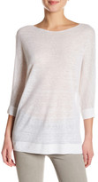 Vince 3/4 Length Sleeve Linen Blend Pullover