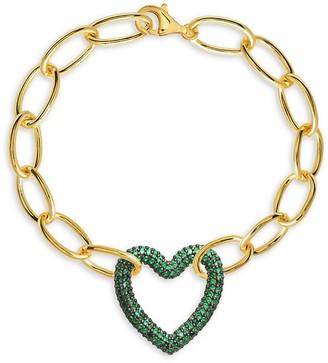 GABIRIELLE JEWELRY 14K Gold Vermeil Emerald-Color Micropave Heart Pendant Bracelet