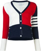 Thom Browne block colour V-neck cardigan - women - Cashmere - 40