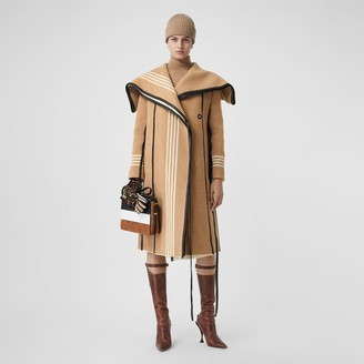 Burberry Lambskin Trim Striped Wool Wrap Coat